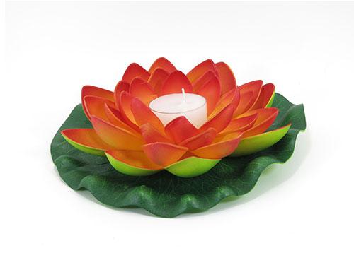 6 Orange Floating Lotus Flower Candles
