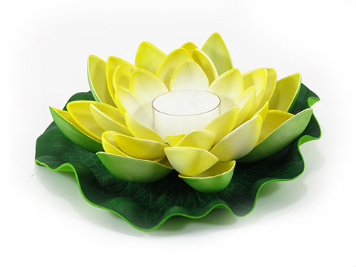 6 Yellow Floating Lotus Flower Candles
