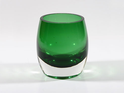 6 Green Glass Candle Holders